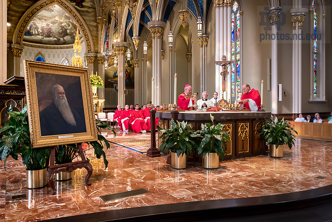 August 25, 2017; ND Trail day 12: Bishop Kevin Rhoades celebrates Mass in the Basilica of the Sacred Heart. The chalice was originally owned by University of Notre Dame founder and president Rev. Edward Sorin, C.S.C. (Photo by Matt Cashore/University of Notre Dame)