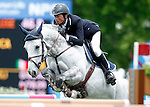 Italia's jockey Lorenzo De Luca with the horse Chanel Z during 102 International Show Jumping Horse Riding, King's College Trophy. May, 20, 2012. (ALTERPHOTOS/Acero)