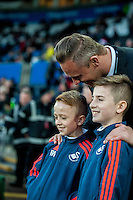 Lee trundle and 2 newly signed youth players prior to  the Barclays Premier League match between Swansea City and West Ham United played at the Liberty Stadium, Swansea  on December 20th 2015