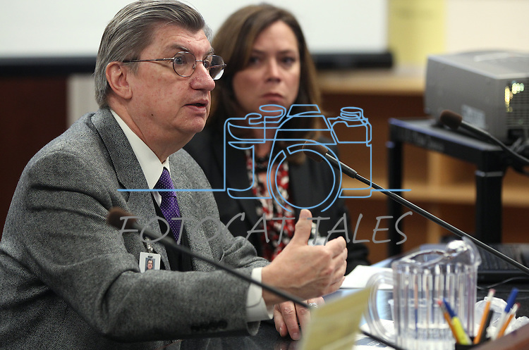 Nevada State Medical Association lobbyist Larry Matheis testifies at the Legislative Building in Carson City, Nev., on Wednesday, March 6, 2013. Lobbyist Lesley Pittman is at right..Photo by Cathleen Allison