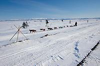 Al Hardman w/Tripod Markers on Trail to Shaktoolik