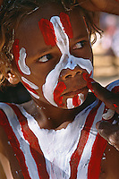 'Painting Up' Young Lockhart River Dancer,  Laura Aboriginal Dance Festival, Laura, Cape York Peninsula, Queensland, Australia.