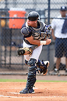 GCL Yankees 2 catcher Jesus Aparicio (36) throws down to second during a game against the GCL Braves on June 23, 2014 at the Yankees Minor League Complex in Tampa, Florida.  GCL Yankees 2 defeated the GCL Braves 12-4.  (Mike Janes/Four Seam Images)