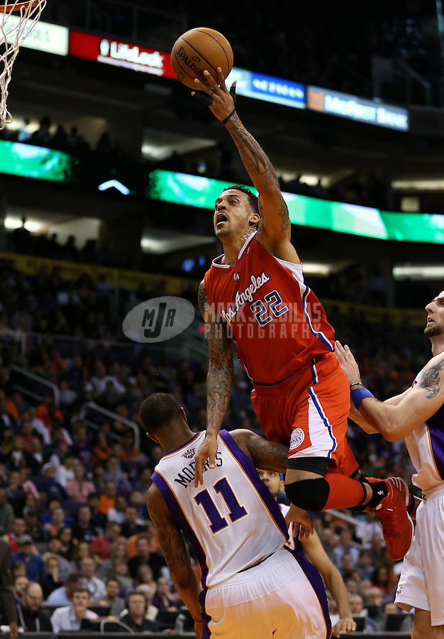 Jan. 24, 2013; Phoenix, AZ, USA: Los Angeles Clippers forward Matt Barnes (22) drives to the basket in the second half against the Phoenix Suns at the US Airways Center. The Suns defeated the Clippers 93-88. Mandatory Credit: Mark J. Rebilas-USA TODAY Sports