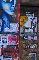 Peeling publicity posters on doors, Hamburg, Germany
