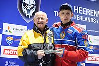 MOTORSPORT: HEERENVEEN: 31-03-2017, IJsstadion Thialf, IJsspeedway Roelof Thijs Bokaal, Roelof Thijs met winnaar Eduard Krysov (RUS), ©foto Martin de Jong