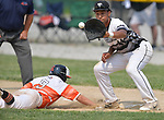 Waterloo's Tyson Roedl dives back to first base to avoid the pickoff throw to Carbondale first baseman James Baltz. Waterloo defeated Carbondale in the Class 3A Salem baseball sectional championship game at Salem HS in Salem, IL on Saturday June 1, 2019.<br /> Tim Vizer/Special to STLhighschoolsports.com