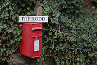 Pictured: A post office red box outside The Rodd Farm Friday 02 December 2016<br /> The Sidney Nolan Trust, Rodd, Herefordshire, England, UK