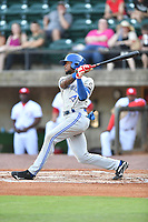Bluefield Blue Jays designated hitter D.J. Neal (3) swings at a pitch during a game against the Greeneville Reds at Pioneer Park on June 30, 2018 in Greeneville, Tennessee. The Blue Jays defeated the Red 7-3. (Tony Farlow/Four Seam Images)