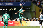23 August 2008: Nicolas Pareja (ARG) (12) and Peter Odemwingie (NGA) (14) challenge for a header. Argentina's Men's National Team defeated Nigeria's Men's National Team 1-0 at the National Stadium in Beijing, China in the Gold Medal match in the Men's Olympic Football tournament.