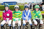 Nathan Cross from Tipperary, Danny Sheehy from Kilkenny, Joe Cullen from Kilkenny and Ross Sugrue from Tralee.  at the Kerry International Horse Racing at Ballybeggan Race Track on Sunday dedicated to the memory of John Browne