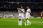 Real Madrid CF's Rodrygo Goes, Real Madrid CF's Dani Carvajal and Real Madrid CF's Carlos H. Casemiro celebrates after scoring a goal during UEFA Champions League match, groups between Real Madrid and Galatasaray SK at Santiago Bernabeu Stadium in Madrid, Spain. November, Wednesday 06, 2019.(ALTERPHOTOS/Manu R.B.)