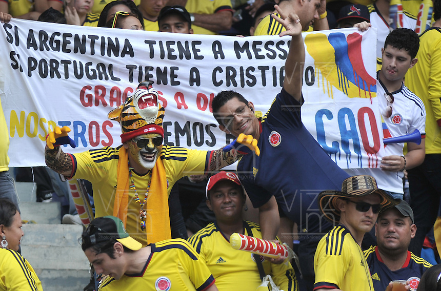 BARRANQUILLA - COLOMBIA - 11-06-2013: Fanaticos de Colombia, animan a su equipo durante partido en el estadio Metropolitano Roberto Melendez de la ciudad de Barranquilla, junio 11 de 2013. Colombia y Peru disputan partido en la fecha 14 de la jornada clasificatoria a la Copa Mundo FIFA Brasil 2014. (Foto: VizzorImage / Luis Ramirez / Staff). The fans of Colombia yells for their team during a game in the Metropolitan stadium Roberto Melendez in Barranquilla, June 11, 2013. Colombia and Peru disputing a match on the date 14 of the qualifying for FIFA World Cup Brazil 2014. (Photo: VizzorImage / Luis Ramirez / Staff.)