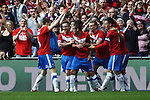 LONDON, ENGLAND - MAY 12: York City's Matty Blair celebrates his opening goal with York City team mates in the FA Carlsberg Trophy Final between York City and Newport County at Wembley Stadium on May 12, 2012 in London, England. (Photo by Dave Horn - Extreme Aperture Photography)