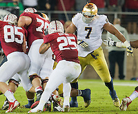 Stephon Tuitt (7) gets ready to tackle Stanford running back Tyler Gaffney (25) in the third quarter.