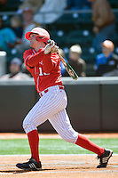 Nebraska Cornhusker catcher Patric Tolentino against Texas on Sunday March 21st, 2100 at UFCU Dish-Falk Field in Austin, Texas.  (Photo by Andrew Woolley / Four Seam Images)