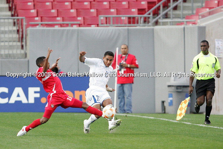 11 March 2008: Oscar Morales (HON) (21) passes in front of a Panama defender. The Honduras U-23 Men's National Team defeated the Panama U-23 Men's National Team 1-0 at Raymond James Stadium in Tampa, FL in a Group A game during the 2008 CONCACAF's Men's Olympic Qualifying Tournament.