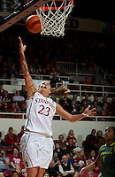 STANFORD, CA - February 26, 2011:  Jeanette Pohlen scores in Stanford's 99-60 victory over Oregon at Stanford, California on February 26, 2011.