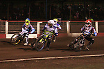 Lakeside Hammers v Swindon Robins<br /> Elite League<br /> Friday 5th April 2013<br /> Arena-Essex<br /> Heat Six<br /> Peter Karlsson (Red), Kim Nilsson (Blue), Troy Batchelor (White), Kasper Gomolski (Yellow)
