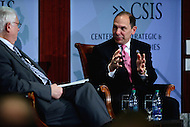 Washington, DC - May 4, 2016: Robert McDonald, Secretary of Veterans Affairs, discusses health policy and the health challenges facing U.S. veterans during a discussion with CSIS president John Hamre (l) at the Center for Strategic and International Affairs in the District of Columbia, May 4, 2016.  (Photo by Don Baxter/Media Images International)