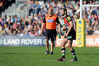 Nick Evans of Harlequins watches his kick as he has a frustrating afternoon with the boot during the Aviva Premiership match between Harlequins and Bath Rugby at The Twickenham Stoop on Saturday 24th March 2012 (Photo by Rob Munro)