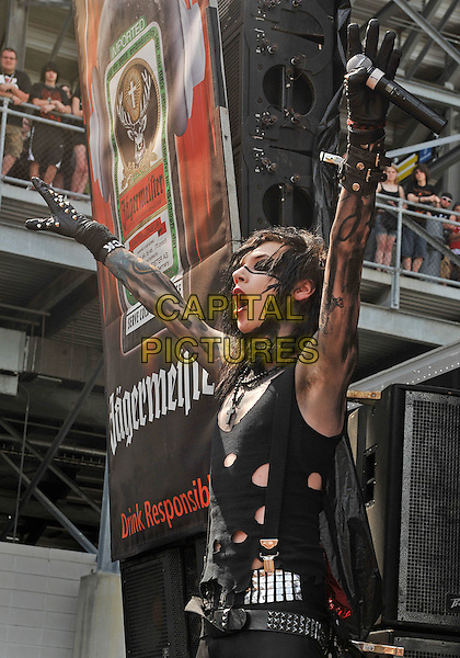 "BLACK VEIL BRIDES.Vocalist ANDY ""SIX"" BIERSACK of the band BLACK VEIL BRIDES performs as part of the Rock On The Range festival held at Columbus Crew Stadium, Columbus, Ohio, USA..May 21st, 2011.stage concert live gig performance music half length black make-up tattoos arms in air side profile mouth open .CAP/ADM/JN.©Jason L Nelson/AdMedia/Capital Pictures."