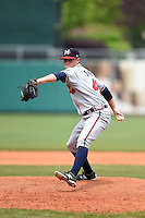 Mississippi Braves pitcher Shae Simmons (46) delivers a pitch during a game against the Montgomery Biscuits on April 22, 2014 at Riverwalk Stadium in Montgomery, Alabama.  Mississippi defeated Montgomery 6-2.  (Mike Janes/Four Seam Images)