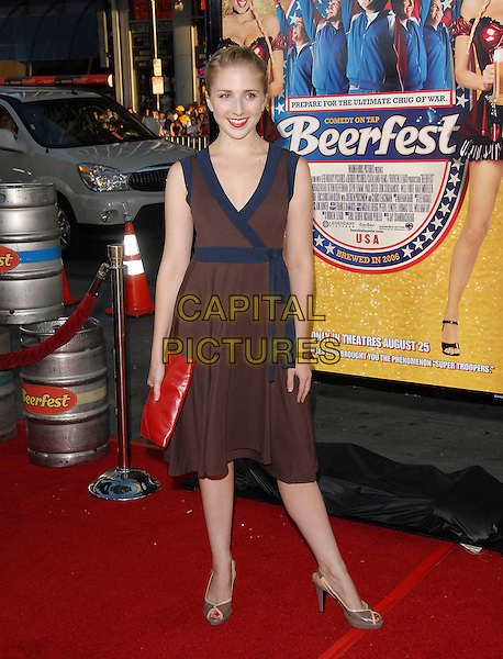 "SARA FIGOTON.attends The Warner Brother Pictures' World Premiere of ""Beerfest"" held at The Grauman's Chinese Theatre in Hollywood, California, USA, August 21st 2006..full length sarah brown dress blue wrap.Ref: DVS.www.capitalpictures.com.sales@capitalpictures.com.©Debbie VanStory/Capital Pictures"