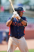 Rome Braves catcher Carlos Martinez (19) at bat during a game against the Lexington Legends on May 23, 2018 at Whitaker Bank Ballpark in Lexington, Kentucky.  Rome defeated Lexington 4-1.  (Mike Janes/Four Seam Images)