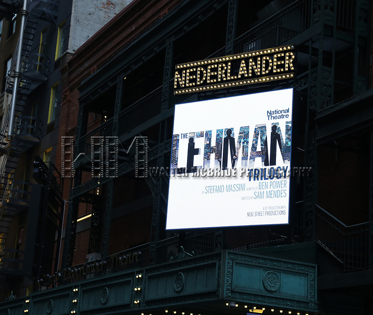 """Theatre Marquee for """"The Lehman Trilogy """"  directed by Sam Mendes at the Nederlander Theatre on January 13, 2019 in New York City."""