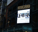 "Theatre Marquee for ""The Lehman Trilogy ""  directed by Sam Mendes at the Nederlander Theatre on January 13, 2019 in New York City."