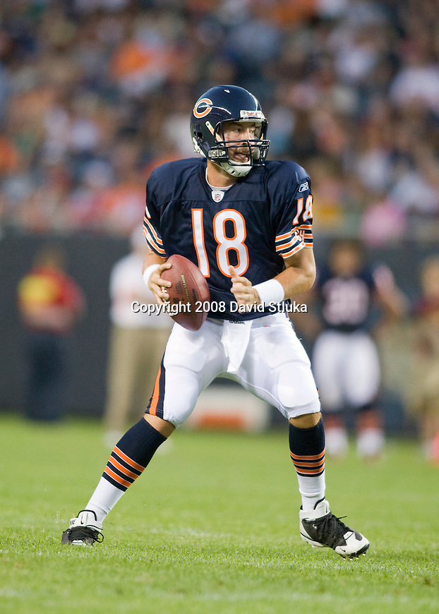 CHICAGO - AUGUST 7: Quarterback Kyle Orton #18 of the Chicago Bears looks for a receiver against the Kansas City Chiefs at Soldier Field on August 7, 2008 in Chicago, Illinois. The Chiefs defeated the Bears 24-20. (AP Photo/David Stluka)