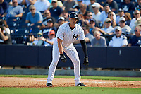 New York Yankees first baseman Ryan McBroom (73) leads off first base during a Grapefruit League Spring Training game against the Toronto Blue Jays on February 25, 2019 at George M. Steinbrenner Field in Tampa, Florida.  Yankees defeated the Blue Jays 3-0.  (Mike Janes/Four Seam Images)