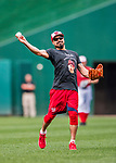 15 August 2017: Washington Nationals third baseman Anthony Rendon takes some tossing practice prior to a game against the Los Angeles Angels at Nationals Park in Washington, DC. The Nationals defeated the Angels 3-1 in the first game of their 2-game series. Mandatory Credit: Ed Wolfstein Photo *** RAW (NEF) Image File Available ***