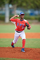 Juan Riascos (13) during the Dominican Prospect League Elite Florida Event at Pompano Beach Baseball Park on October 15, 2019 in Pompano beach, Florida.  (Mike Janes/Four Seam Images)