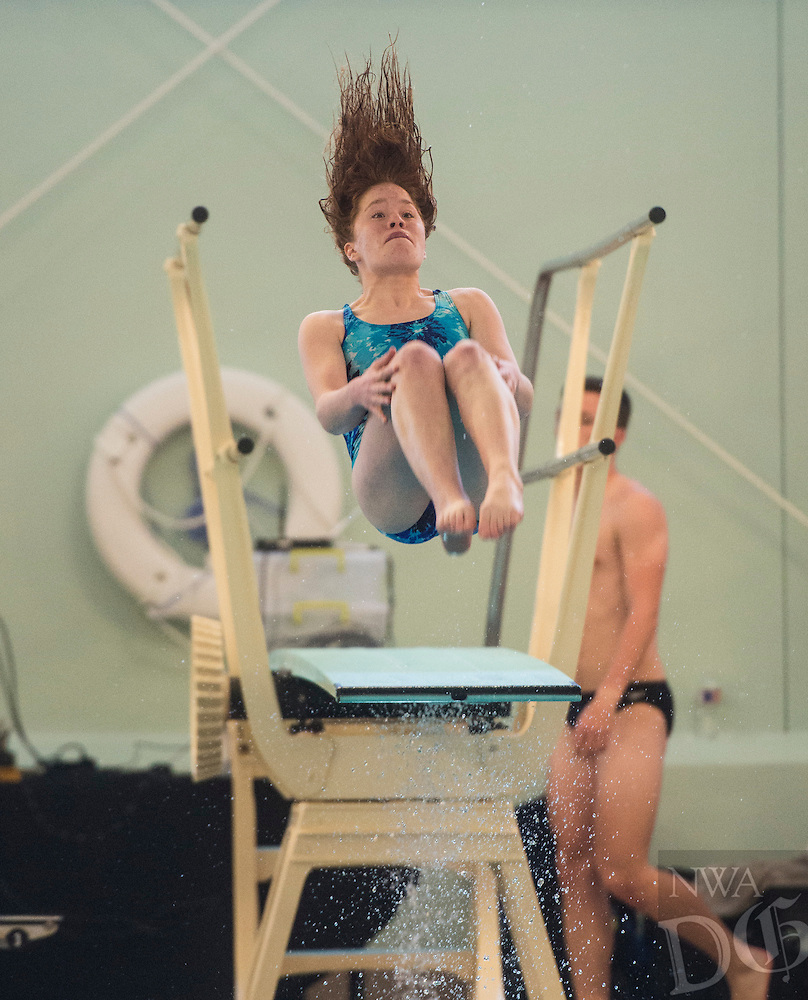 NWA Democrat-Gazette/ANTHONY REYES @NWATONYR<br /> Ansley Anders of Shiloh Christian during the Arkansas State Dive meet Friday, Feb. 24, 2017 at the Bentonville Community Center in Bentonville.