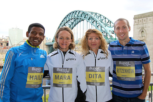 17.09.2010 Bupa Great North Run Press Conference. Athletes from left to right Haile Gebrselassie (ETH), Mara Yamauchi (GBR), Constantina Dita (ROM), Dathan Ritzenhein (USA).