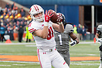 Wisconsin Badgers tight end Troy Fumagalli (81) makes a reception during an NCAA College Big Ten Conference football game against the Illinois Fighting Illini Saturday, October 28, 2017, in Champaign, Illinois. The Badgers won 24-10. (Photo by David Stluka)