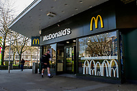 Pictured: A general view of McDonald's in Swansea City Centre during the Covid-19 Coronavirus pandemic in Wales, UK, Swansea, Wales, UK. Monday 23 March 2020