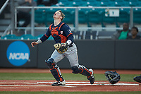 Illinois Fighting Illini catcher Jacob Campbell (9) tracks a pop fly during the game against the Coastal Carolina Chanticleers at Springs Brooks Stadium on February 22, 2020 in Conway, South Carolina. The Fighting Illini defeated the Chanticleers 5-2. (Brian Westerholt/Four Seam Images)