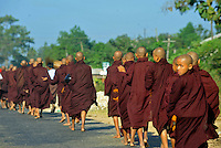Monks walk in the coutryside along the  Rangoon-Mandalay Road , Burma Nov 2008.  Monks in this largely Buddhist country have to beg from villagers in order to feed themselves.<br />