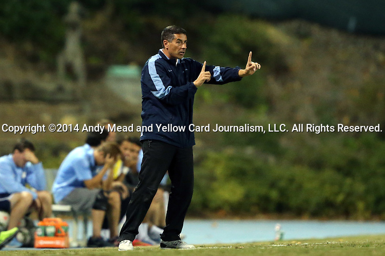 28 October 2014: UNC head coach Carlos Somoano. The University of North Carolina Tar Heels hosted the Georgia Southern University Eagles at Fetzer Field in Chapel Hill, NC in a 2014 NCAA Division I Men's Soccer match. North Carolina won the game 6-2.