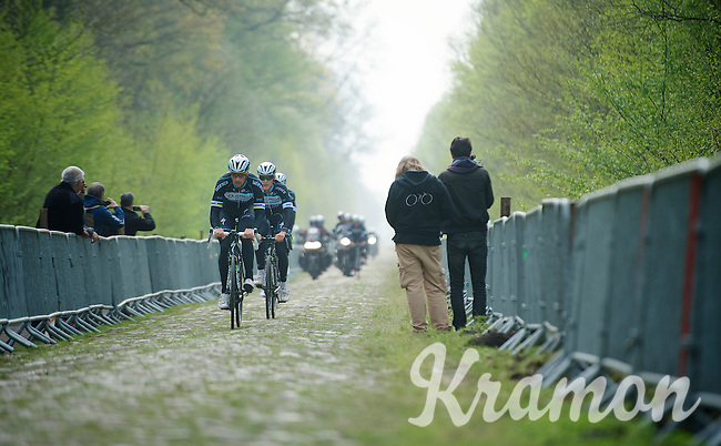 4 time Roubaix Champion Tom Boonen (BEL/OPQS) coming through sector 18: Pavé de la Trouée d'Arenberg<br /> <br /> 2014 Paris-Roubaix reconnaissance