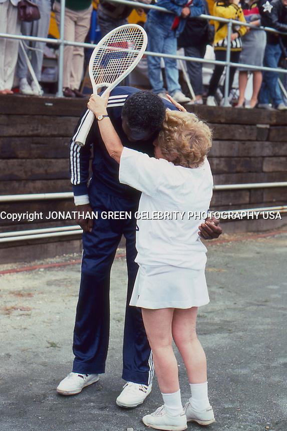 Earl Monroe & Dr. Ruth Westheimer 1987 by <br /> Jonathan Green