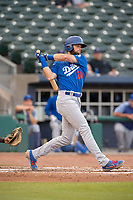 Tulsa Drillers outfielder Cody Thomas (20) connects on a pitch on May 13, 2019, at Arvest Ballpark in Springdale, Arkansas. (Jason Ivester/Four Seam Images)