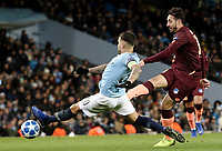1899 Hoffenheim's Ishak Belfodil shoots despite the attentions of Manchester City's Nicolas Otamendi<br /> <br /> Photographer Rich Linley/CameraSport<br /> <br /> UEFA Champions League Group F - Manchester City v TSG 1899 Hoffenheim - Wednesday 12th December 2018 - The Etihad - Manchester<br />  <br /> World Copyright © 2018 CameraSport. All rights reserved. 43 Linden Ave. Countesthorpe. Leicester. England. LE8 5PG - Tel: +44 (0) 116 277 4147 - admin@camerasport.com - www.camerasport.com