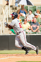 William Beckwith #23 of the Rome Braves follows through on his swing against the Kannapolis Intimidators at CMC-Northeast Stadium on May 28, 2012 in Kannapolis, North Carolina.  The Intimidators defeated the Braves 6-4.  (Brian Westerholt/Four Seam Images)