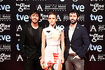 Rodrigo Sorogoyen, Aura Garrido and Javier Pereira attends the Goya Awards nominee party at Canal Theater in Madrid, Spain. January 20, 2014. (ALTERPHOTOS/Victor Blanco)
