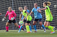 Piscataway, NJ - Sunday June 19, 2016: Jess Fishlock, Christie Rampone, Bev Yanez during a regular season National Women's Soccer League (NWSL) match between Sky Blue FC and Seattle Reign FC at Yurcak Field.