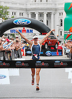 Gina Ferguson is the women's winner of the Ironman on Sunday, 9/9/07, in Madison, setting a course record by over nine minutes